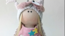 Кукла текстильная ручной работы.Тильда. Красивая кукла. Куколка совушка.