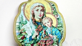 Икона панно ′Богородица с Иисусом′