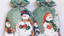 Мешочек для подарка ′Снеговики′.