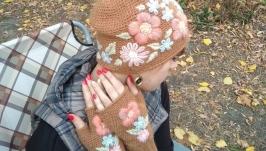 Шапка и митенки Карамель Цветы