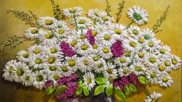 МК Вышитая лентами картина ′Букет полевых ромашек′