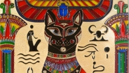 Витражная картина «Египетская кошка»