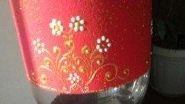 Стеклянная ваза акриловыми красками