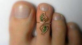 «Кольцо на палец ноги Нефритовые листочки»