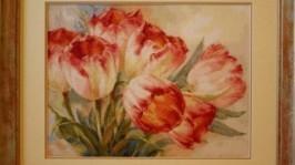 «Нежные тюльпаны»Вышитая картина