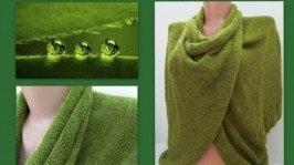 Вязаная накидка трансформер «Зелень»
