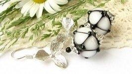 Серьги лэмпворк черно-белые