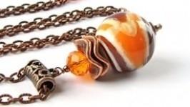 Кулон «Марблс» оранжево-коричневый