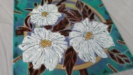 Часы витражные настенные ′Просто цветы′
