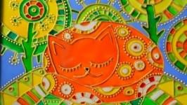Витражная картина «Рыжий кот»