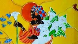 Витражная картина «Девушка Африка»