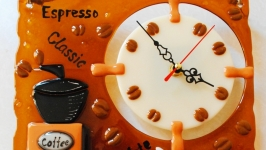 Часы из стекла ручной работы, фьюзинг часы ′Кофе′
