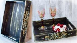 Поднос в стиле стимпанк, лофт ′Loft flowers′