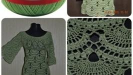 Платье«Зеленые веера»
