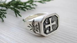 Срібний перстень печатка «Козацький»
