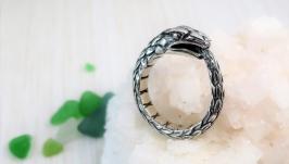 Кільце Уроборос широкий срібний
