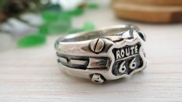 Срібний перстень «Route 66»