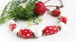Бусы Красные в белый горошек лемпворк