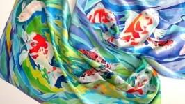 шарф шёлковый Японские карпы