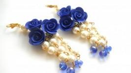 Серьги с синими розами и жемчугом
