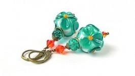 Серьги цветы лэмпворк (цвет морской волны)