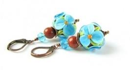 Серьги цветы голубые лэмпворк