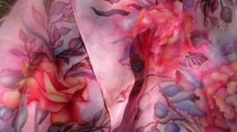 Сделаю на заказ. Шелковый шарф «Розы на шифоне»
