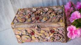 Шкатулка купюрница женская в стиле лофт ′Loft pink′