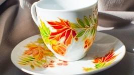 Керамическая чашка с блюдцем «Осень»
