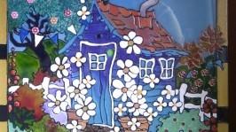 Витражные часы «Домик в деревне»