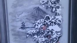 Витражное панно Рябина в снегу