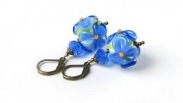 Серьги цветы лэмпворк (голубой синий)