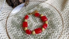 Браслет червоно-золотистий з індійськими бусинам