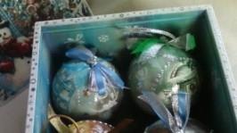 Набор елочных шаров в коробе. Декупаж.
