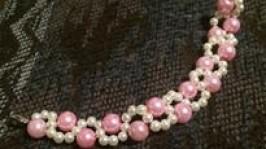 Браслет Біло-рожевий зефір