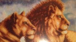 Картина бісером Lions