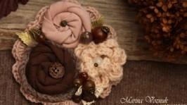 Брошь Ваниль и розы. Текстильная брошь. Брошка из ткани, розовая, коричнева