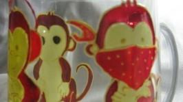 Три обезьяны роспись стекла