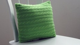 Вязаная подушка Салатовый Лист