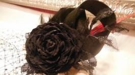 Капелюшок вуалетка з квіткою з тканини Black Rose