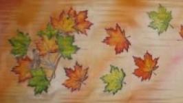 Батик-шарф из натурального шёлка Кленовые листья