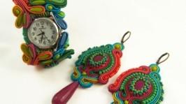 Комплект серьги и часы в сутаже