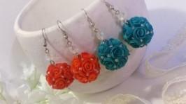 Серьги Цветочные шары