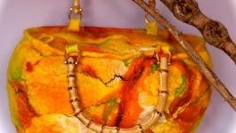 Сумка валяная на бамбуке желто оранжевая