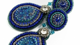 Серьги бисер синие