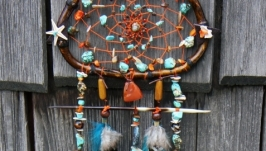 Ловец снов оранжево бирюзовый с иглой дикобраза