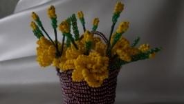 Міні-композиція Корзинка з трояндами (жовтий)