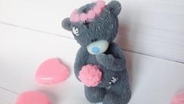 Полезное мыло ручной работы Тедди в веночке. Подарок