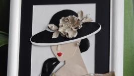 Картина из кожи Дама в шляпе