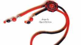 Галстук-боло Красная роза